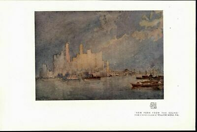 New York from the Sound Skyline Skyscrapers Bridge 1915 vintage color art print