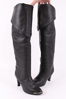 Vtg 80S Zodiac Leather Over The Knee High Heel Boots Usa Womens 9 M