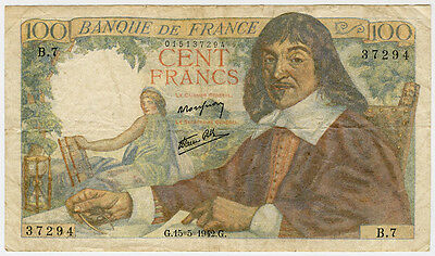 FRANCE 1942 ISSUE 100 FRANCS SCARCE BANKNOTE.PICK#101a.