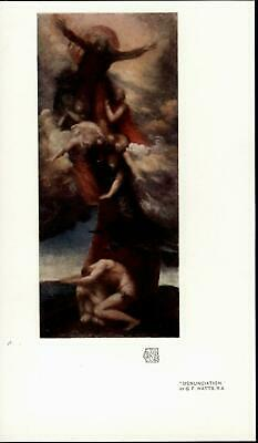 Adam & Eve Being Shunned by God Genesis Bible c. 1915 vintage color art print
