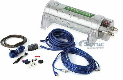 Install Bay Power Pack: 1 Farad Capacitor + 1600 Watt RMS Handling Amp Kit
