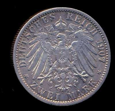Germany Prussia Coin 2 Mark 1907 A Silver Km# 522 Xf+