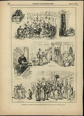 Traveling to Quebec Victoria Rifles Marching Band 1880 antique historic print