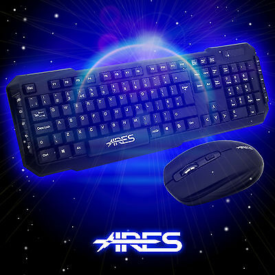 ARES  T1 USB 2.4 GHz Wireless Keyboard and 1600 DPI Optical Mouse Bundles Combo