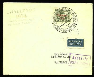 Poland (Lithuania): Wilnius -Warsaw cover flown in 1934 Challenge Air Rally, RR!