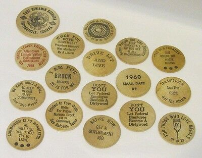 '60's Lot 17 Assorted Wooden Nickels Federal Humorous Political Humor Communism