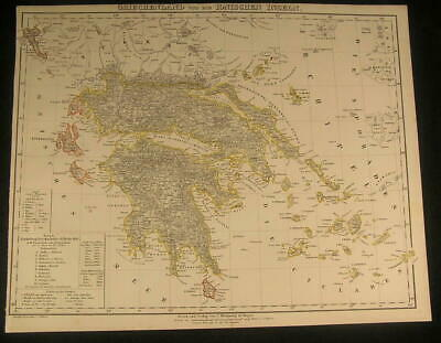 Greece Ionian Island Corinth c.1854 antique lithograph outline hand color map