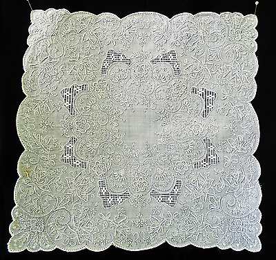 Vintage Swiss Appenzell Heavily Embroidered Handkerchief / Hanky  Wedding