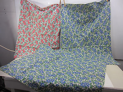 3 Vintage Uncut Red & Blue Floral Whole Feed Sacks