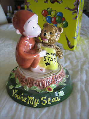 """1998 Curious George Figurine """"you Are My Shining Star"""" With Box"""