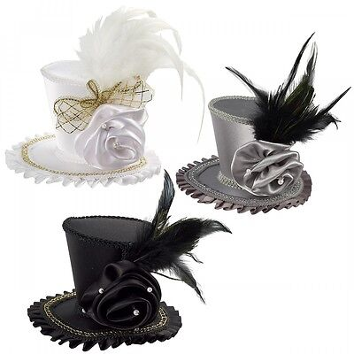 Mini Top Hat with Rose Costume Accessory Adult Halloween