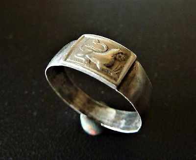 Post-Medieval silver ring with lion image.