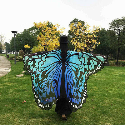 Colorful Fabric Butterfly Wings Fairy Ladies Nymph Pixie Costume Accessory T2