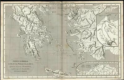 Greece Thrace Lesbos Crete Isthmus Corinth 1806 scarce antique engraved map