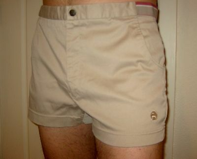"Vtg 70s 80s John Newcombe LOTTO Tan TENNIS Mod 2.5"" inseam Track shorts Mens 34"