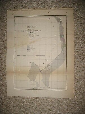 Early Antique 1855 Monterey Bay California Map Geology Geological Maritime Rare