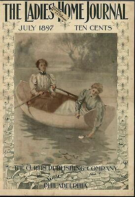 Beautiful Women Rowboat Water Lily Relaxation 1897 antique historic color print