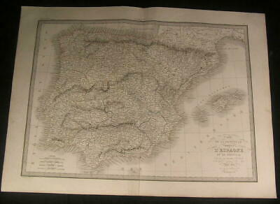 Spain Portugal Iberian Peninsula 1831 antique engraved outline hand color map