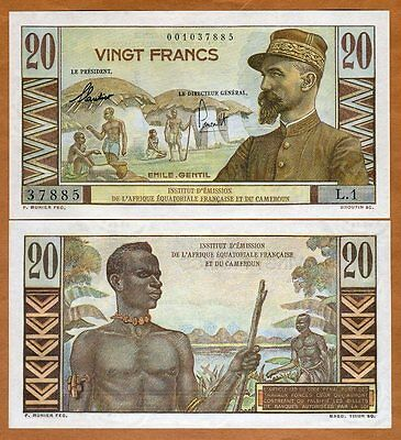 French Equatorial Africa & Cameroun, 20 francs, ND (1957), P-30, UNC