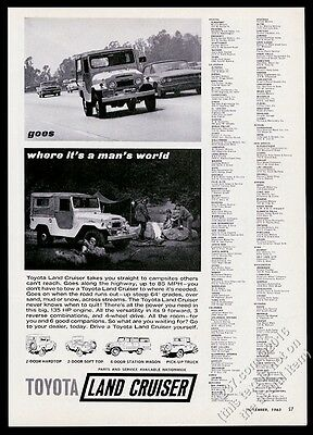 1963 Toyota Land Cruiser photo FJ45lv & pickup truck art vintage print ad