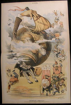 End of Monarchy Countries Globe Pope 1889 antique color lithograph print