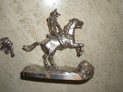 Sterling Silver Horse And Soldier Statue Military