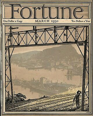 Art Deco stunner Industrial US City View 1930 Fortune cover litho vintage print