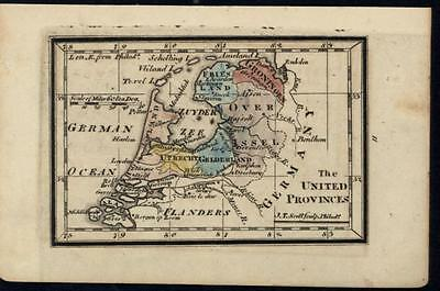 United Provinces Utrecht Holland Flanders c.1798 antique engraved hand color map