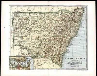 New South Wales Australia Sydney 1911 vintage detailed color map