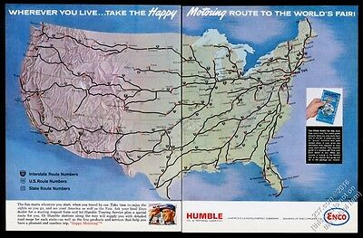 1964 USA interstate map art Humble Oil Enco gas NY World's Fair theme print ad