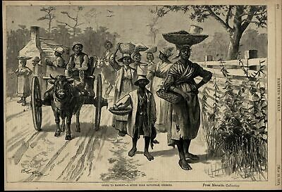 African Americans Traveling to Market Savannah 1875 great old print for display