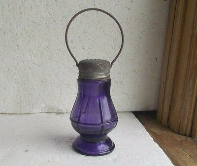 1904 Dated Amethyst Glass Lantern Figural Candy Container Original Lid & Handle