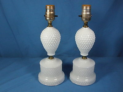 "Lot Of Two (2) Vintage 11 3/4"" Tall White Hobnail Milk Glass Table lamps"
