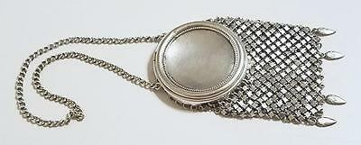 ANTIQUE VICTORIAN EDWARDIAN SILVER MESH CHATELAINE COIN PURSE BAG ** Free Ship**