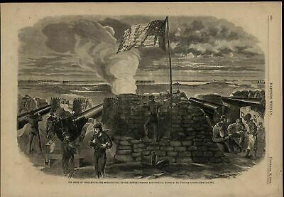 Charleston SC Siege Firing Cannons at Rebels View 1863 old print for display