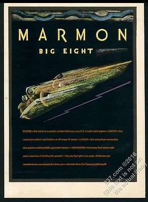 1930 Marmon Big Eight car color art and lightning GREAT vintage print ad
