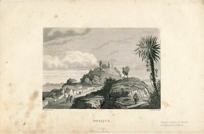 Monastery view in Mexico ca. 1844 scarce old engraved print