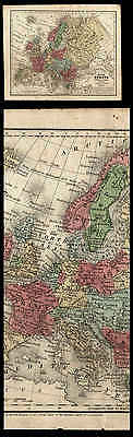 Old 1839 Hand Colored Map Of Europe