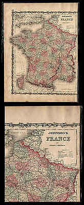 Old 1860 Johnson'S Color Map Of France