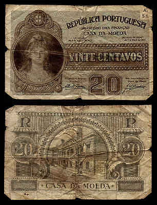OLD c1925 20 CENTAVOS PORTUGAL CURRENCY NOTE