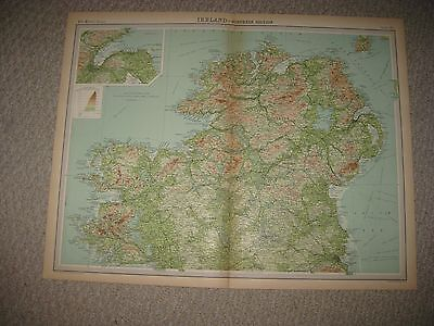 Large Gorgeous Antique 1922 North Northern Ireland Times Atlas Map Belfast Rare