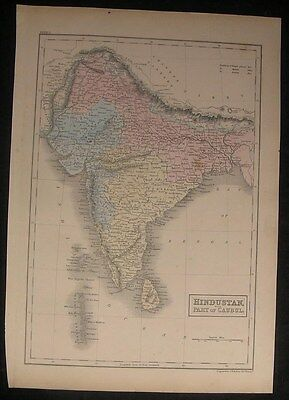 India Ceylon Bengal Nepal Himalayas 1854 antique engraved hand color map