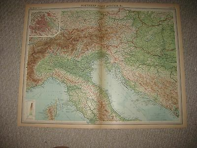 Large Antique 1922 North Northern Italy Austria Vienna Hungary Times Atlas Map