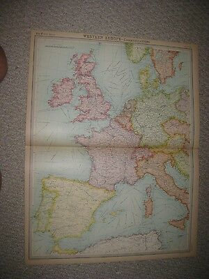 Antique 1922 West Western Europe Map England Ireland France Germany Italy Fine N