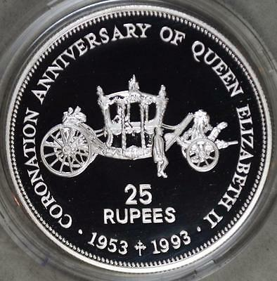 Seychelles 1993 25 Rupees QE II 40th Anniversary Proof Silver Coin