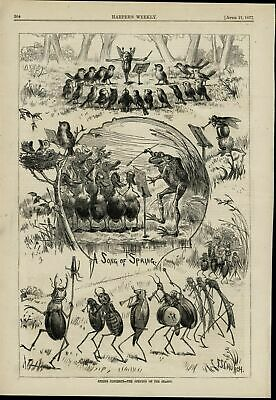 Spring Concerts Bugs Frog Ducks Playing Music 1877 great old print for display