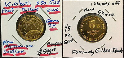 Kiribati $50 Proof Gold 2000 New Millennium Coin -- A Very Rare -- Stunning Coin