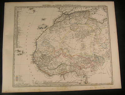 Central & North West Africa 1867 antique engraved hand color map