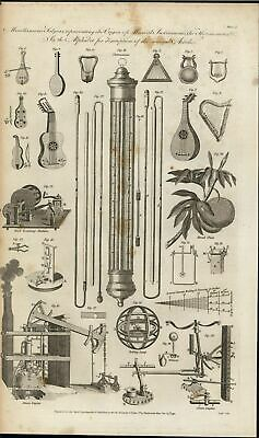 Miscellaneous Musical Stringed Instruments Engine 1791 antique engraved print
