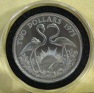 1973 Bahamas BU Two Dollar Sterling Silver Flamingo Coin in Airtite